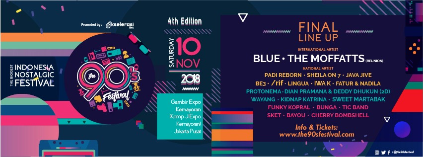 Blue, The Moffatts, Padi Reborn, Sheila On 7 Akan Meriahkan The 90's Festival 2018